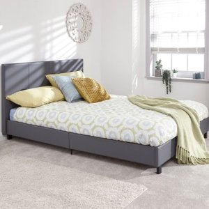 Bugi Double Bed In A Box Grey Faux Leather Beds