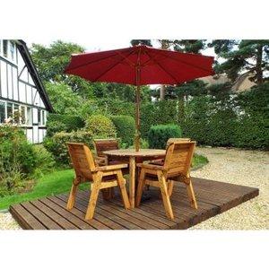 Charles Taylor 4 Seat Round Garden Table Set - Burgundy Parasol & Base Furniture