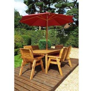 Charles Taylor 6 Seat Garden Table Set With Burgundy Parasol & Base Furniture