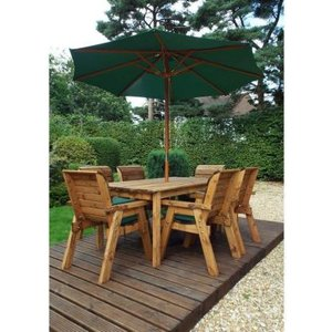 Charles Taylor 6 Seat Garden Table Set With Green Parasol & Base Furniture