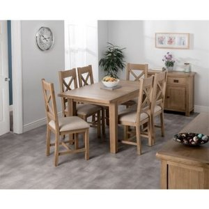 Cotswold Oak Medium Dining Table Set With 6 Cross Back Chairs Furniture