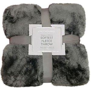Hamilton Mcbride 150x200 Bear Fleece Throw Grey Home Textiles