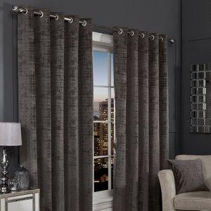 Hamilton Mcbride Charcoal Florence Blackout Eyelet Curtains (90 X 90) Curtains & Blinds