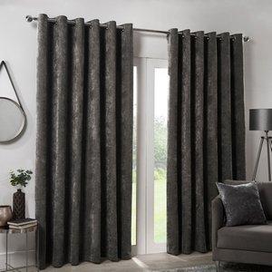 Hamilton Mcbride Charcoal Italian Velvet Blackout Eyelet Curtains (66 X 72) Curtains & Blinds