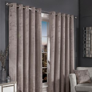 Hamilton Mcbride Silver Florence Blackout Eyelet Curtains (90 X 90) Curtains & Blinds