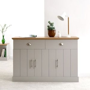 Kendal Sideboard Grey & Oak 3 Door 4 Shelf 2 Drawer Furniture