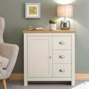 Lancaster Sideboard Cream & Oak 1 Door 3 Drawer Furniture