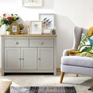 Lancaster Sideboard Grey & Oak 3 Door 2 Drawer Furniture