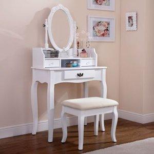 Lumberton Dressing Table White & Pine 3 Drawer With Stool Furniture