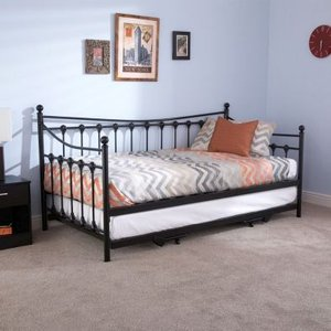 Memphis Single Day Bed & Trundle Black Metal Home Accessories
