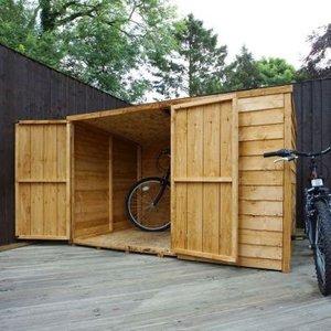 Mercia 4 X 6 Double Door Overlap Pent Bike Shed - Windowless