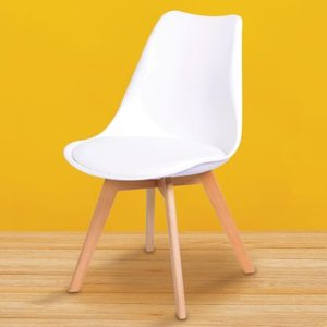 Set Of Four Malmo Dining Chairs Beech & White Furniture