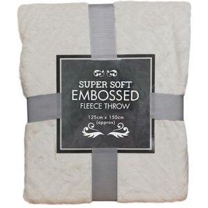 Super Soft Embossed Fleece Throw 125 X 150cm - Cream Diamond Home Textiles