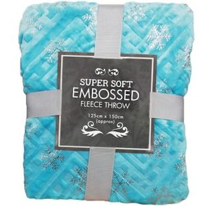 Super Soft Embossed Fleece Throw 125 X 150cm - Light Blue Snowflake Home Textiles
