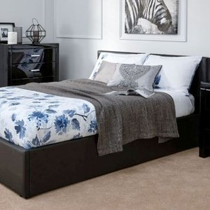 Winston End Lift Double Ottoman Bed Black Faux Leather Home Accessories