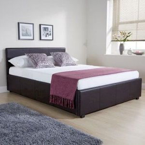 Winston Side Lift Double Ottoman Bed Brown Faux Leather Home Accessories
