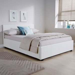 Winston Side Lift Double Ottoman Bed White Faux Leather Home Accessories