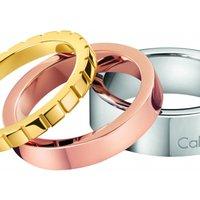 Calvin Klein Jewellery Ladies Calvin Klein Two-tone Steel And Rose Plate Size R/s Wonder Ring Set Kj5mdr300109