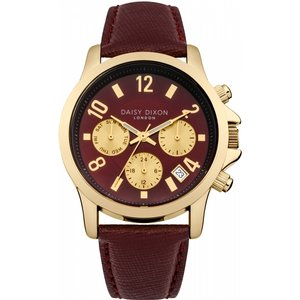 Ladies Daisy Dixon Adriana Chronograph Watch Dd002rrg Brown / Red, Brown / Red
