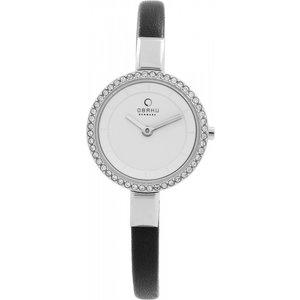 Ladies Obaku Siv Watch V129lecirb Silver / Black, Silver / Black