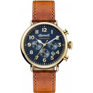 Mens Ingersoll The Trenton Chronograph Watch I03501 Dark Blue / Brown, Dark Blue / Brown
