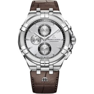 Mens Maurice Lacroix Aikon Chronograph Watch Ai1018-ss001-130-1 Silver / Brown, Silver / Brown
