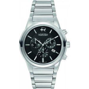 Mens Roamer Swiss Elegance Chronograph Watch 507837415550 Black / Silver, Black / Silver