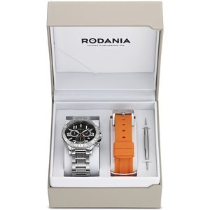 Mens Rodania Chronograph Watch Rf2494746 Black / Silver, Black / Silver