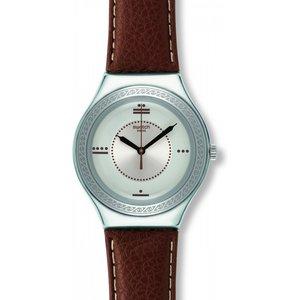 Mens Swatch Maya Numbers Watch Ygs129 Silver / Brown, Silver / Brown
