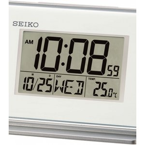 Seiko Clocks Lcd Thermometer Desk Alarm Clock Qhl068w