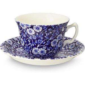 Burleigh Pottery Blue Calico Teacup And Saucer 815010177 Crockery