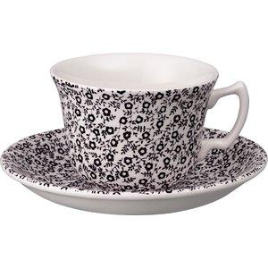 Burleigh Pottery Soho Home Black Felicity Teacup And Saucer 841040177 Crockery