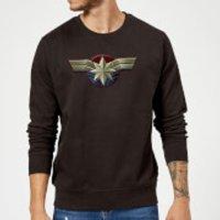 Captain Marvel Chest Emblem Sweatshirt - Black - L - Black Ms 11059 000000 L General Clothing, Black