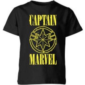 Captain Marvel Grunge Logo Kids' T-shirt - Black - 9-10 Years - Black Yt 11042 000000 Yl General Clothing, Black