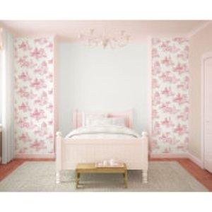 Graham & Brown Disney Princess Girls Toile Print Pink Wallpaper 70 233 Home Accessories, Pink