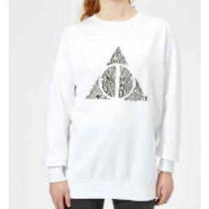 Harry Potter Deathly Hallows Text Women's Sweatshirt - White - M - White Ws 8637 Ffffff M General Clothing, White