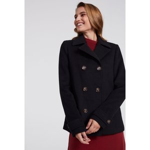 Long Tall Sally Black Wool Double Breasted Pea Coat 759894, Black