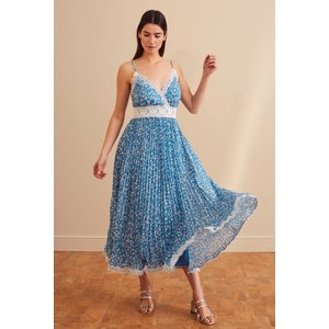 Long Tall Sally Blue Floral Print Lace Trim Dress 758779, Blue
