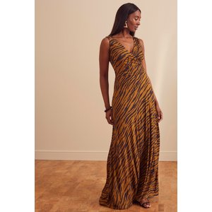 Long Tall Sally Brown Tiger Print Wrap Maxi Dress 758692, Brown