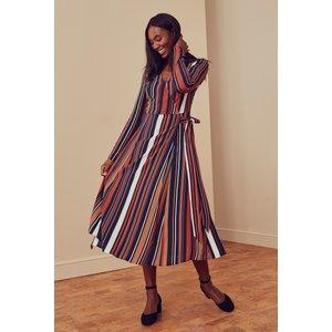 Long Tall Sally Navy Stripe Print Wrap Midi Dress  758785