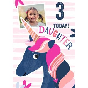 3 Today Unicorn Photo Upload Birthday Card For Daughter, Standard Size By Moonpig Pay004 St