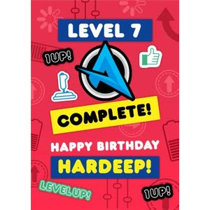 Ali A Level 7 Complete Up Gaming Happy Birthday Card, Large Size By Moonpig Ali002 Lg