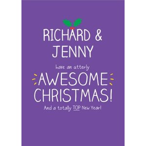 An Utterly Awesome Christmas Personalised Merry Card, Standard Size By Moonpig Hjx006 St