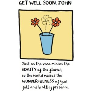 As The Vase Misses Beauty Of Flower Personalised Get Well Soon Card, Large Size By Moonpig Edm016 Lg