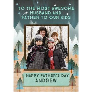 Awesome Husband And Father Photo Upload Father's Day Card, Standard Size By Moonpig Cwy061 St