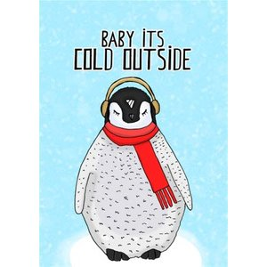 Baby It's Cold Outside Penguin Illustration Christmas Card, Standard Size By Moonpig Piv081 St