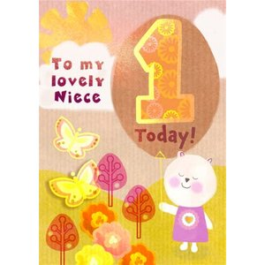 Bear And Butterflies To My Lovely Niece 1 Today Birthday Card, Standard Size By Moonpig Cwy025 St