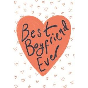 Best Boyfriend Ever Red Love Hearts Card, Standard Size By Moonpig Ctu059 St