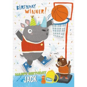 Birthday Winner Dunking Rhino Card , Standard Size By Moonpig Pr308 St