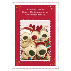 Boofle Family Photo Personalised Christmas Card, Standard Size By Moonpig Boof073 St